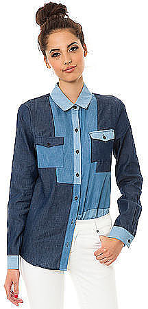 This MKL Collective patchwork denim button-down ($40) will make y