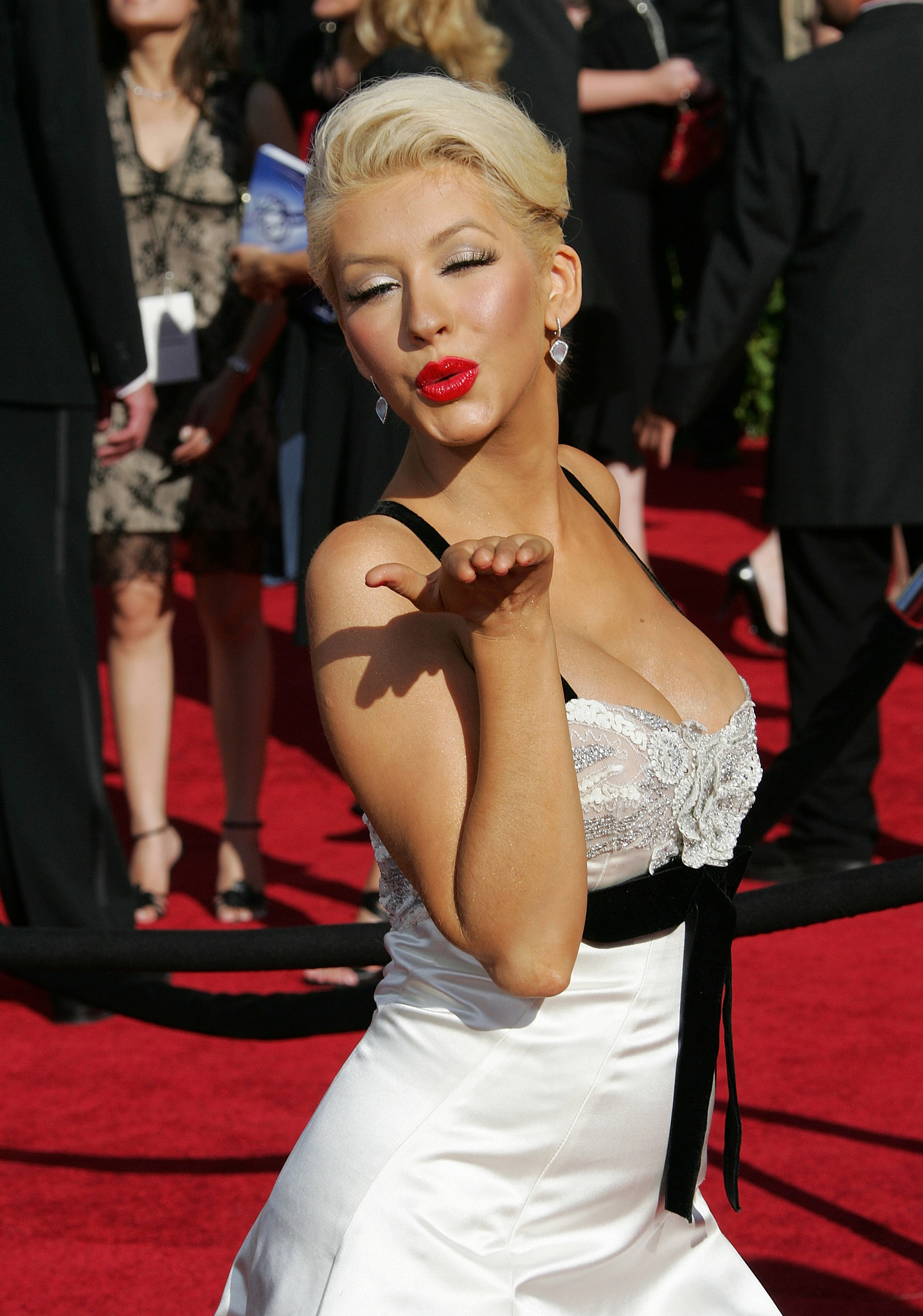 Christina Aguilera blew a kiss to fans in 2007.
