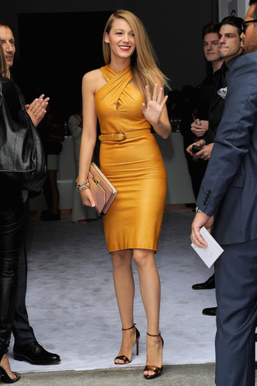 Blake Lively waved on her way into the Gucci show during Milan Fashion Week.