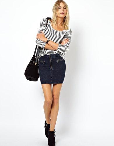 ASOS Uber High Waist Denim Tube Skirt with Zips