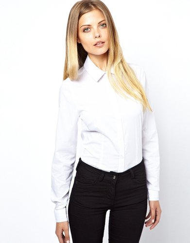 ASOS Shirt With Pleat Detail Collar And Cuff