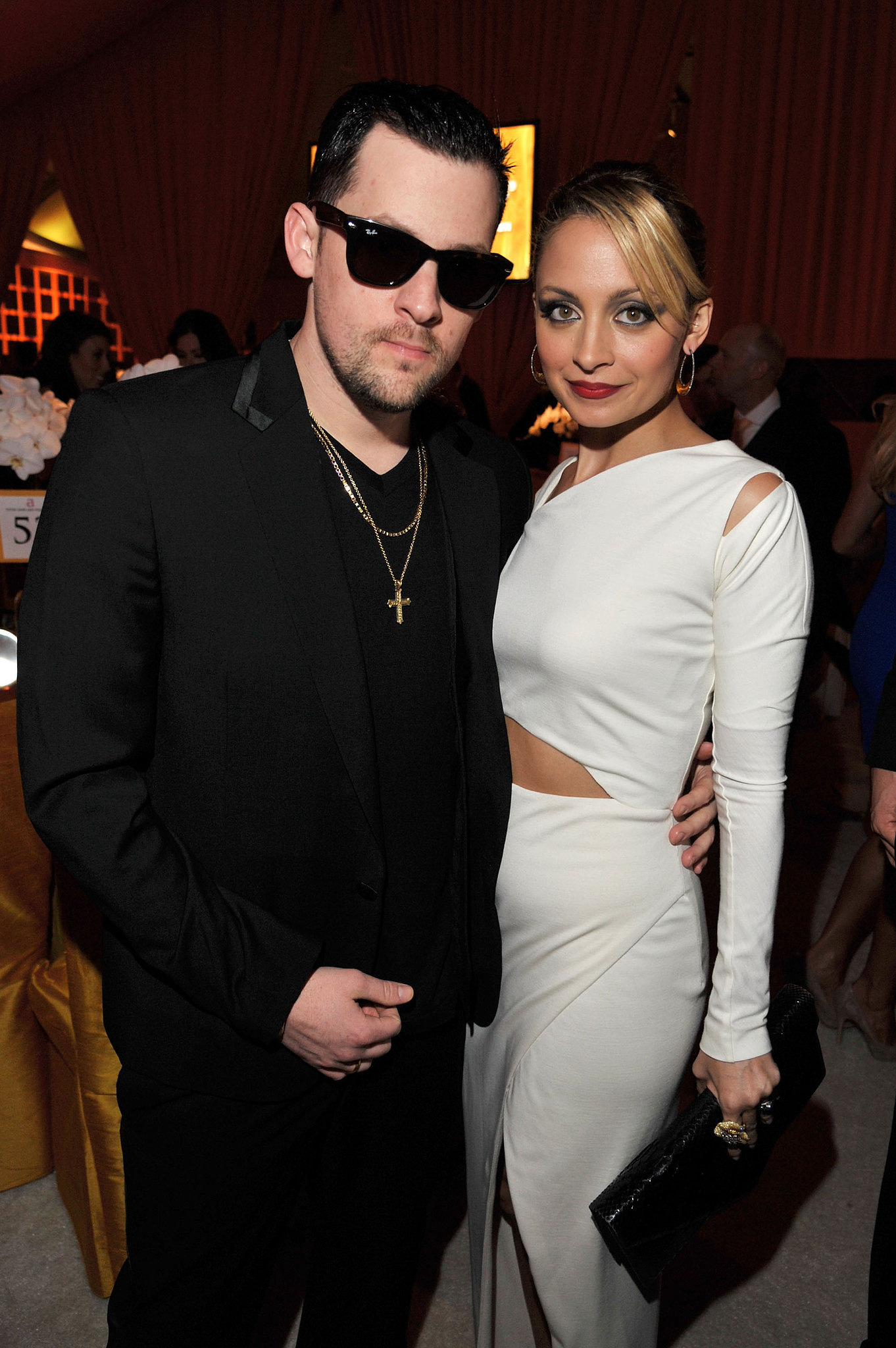 Nicole Richie went for a vintage look when she and Joel attended Elton John's annual Oscars viewing party in February 2011.