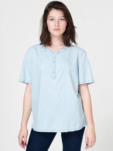 Unisex Denim Short Sleeve Henley T - Shirt
