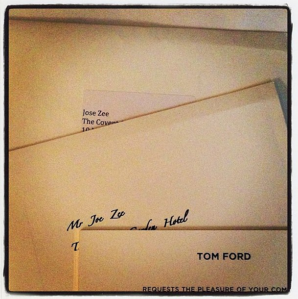 "Lucky Joe Zee got two invites to the Tom Ford show: one for him and one for his ""Spanish cousin"" Jose. Source: Instagram user mrjoezee"