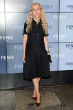 Franca Sozzani accented her black dress with jewel-tone pumps at Fendi's Spring show.