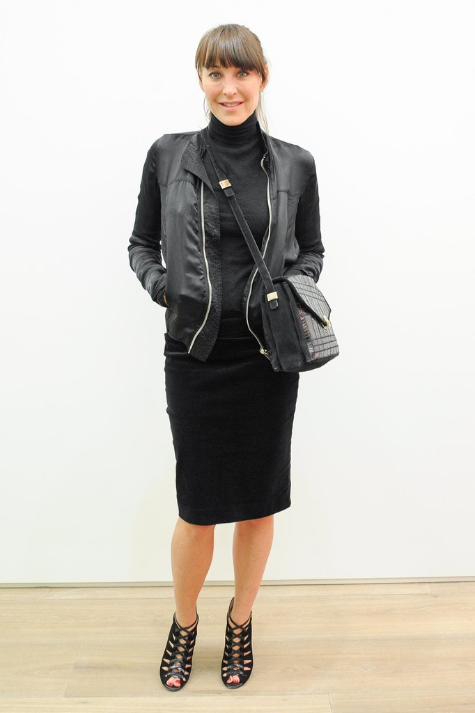 Tamara Mellon added edge to her black ensemble with leather accessories at New York's Galerie Perrotin.