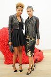 Carly Cushnie and Michelle Ochs worked leather jackets at Galerie Perrotin's Paola Pivi preview.