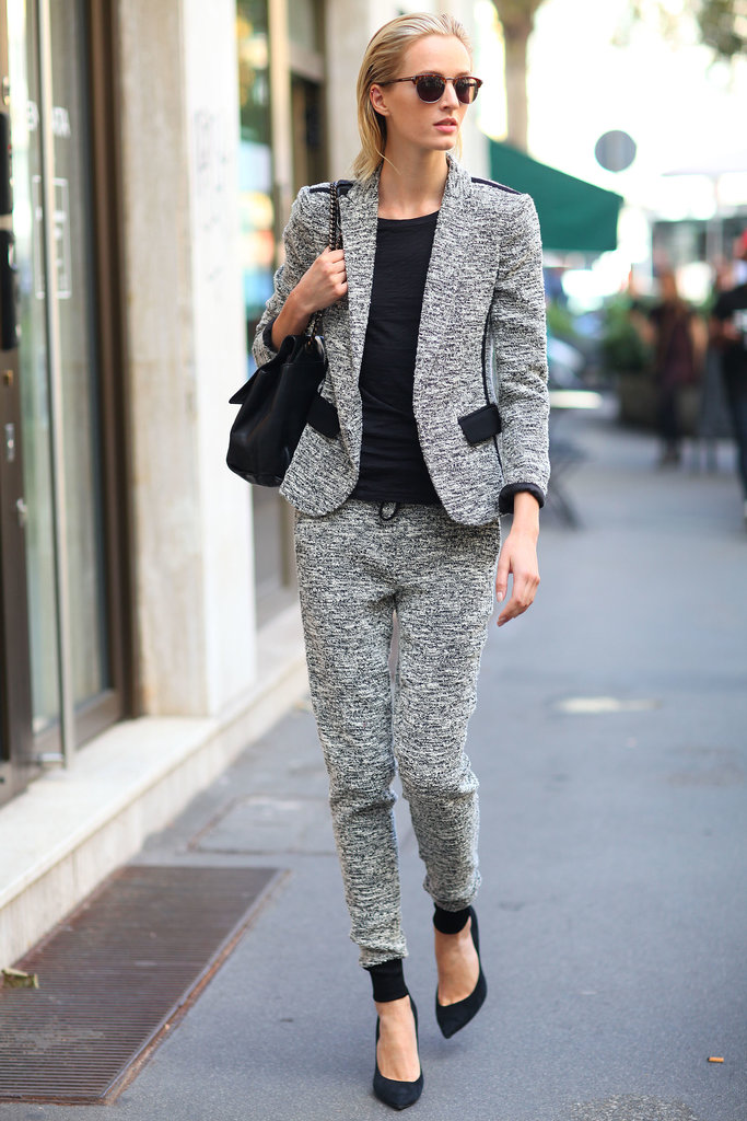 A salt-and-pepper suit that's more sporty than sophisticate.