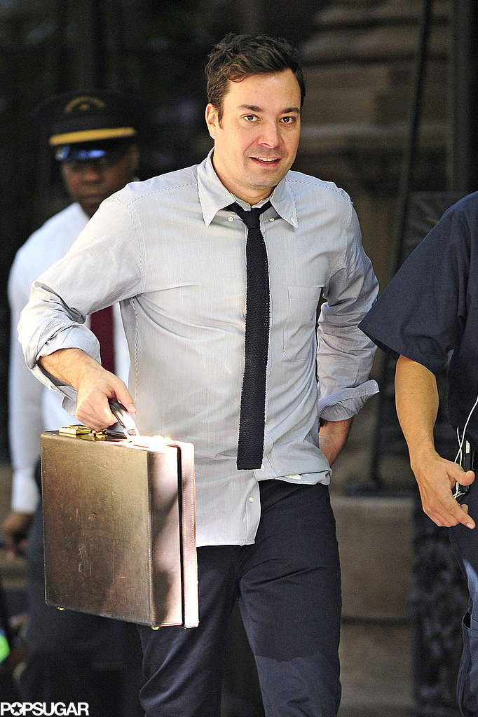 Jimmy Fallon headed to work after celebrating his birthday.
