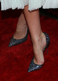 Miranda's dress needed few accessories, and sparkly pointy Christian Louboutin pumps brought the bling.