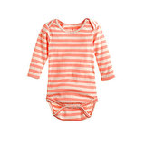 Baby One-Piece in Coral Champagne Stripe ($25)