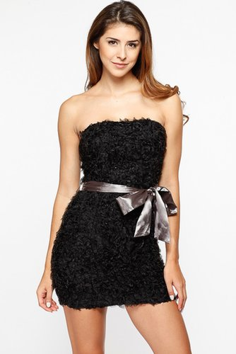 Black Ruffled Satin Bow Strapless Dress @ Cicihot sexy dresses,sexy dress,prom dress,summer dress,spring dress,prom gowns,teens