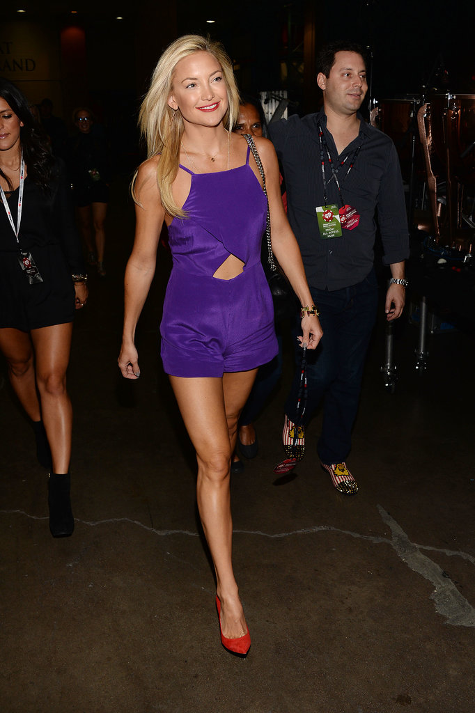 Kate Hudson changed into a purple outfit.