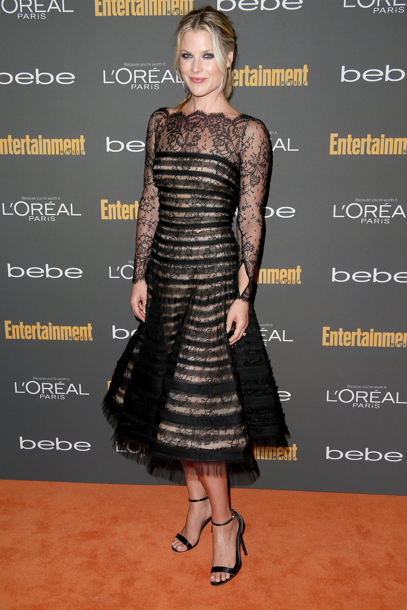 Ali Larter's black striped, lace fit-and-flare dress stood out for being ladylike o