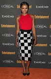 Kat Graham kept it sassy in a red sleeveless top and a checkered pencil skirt at the Entertainment Weekly pre-Emmys party in LA.