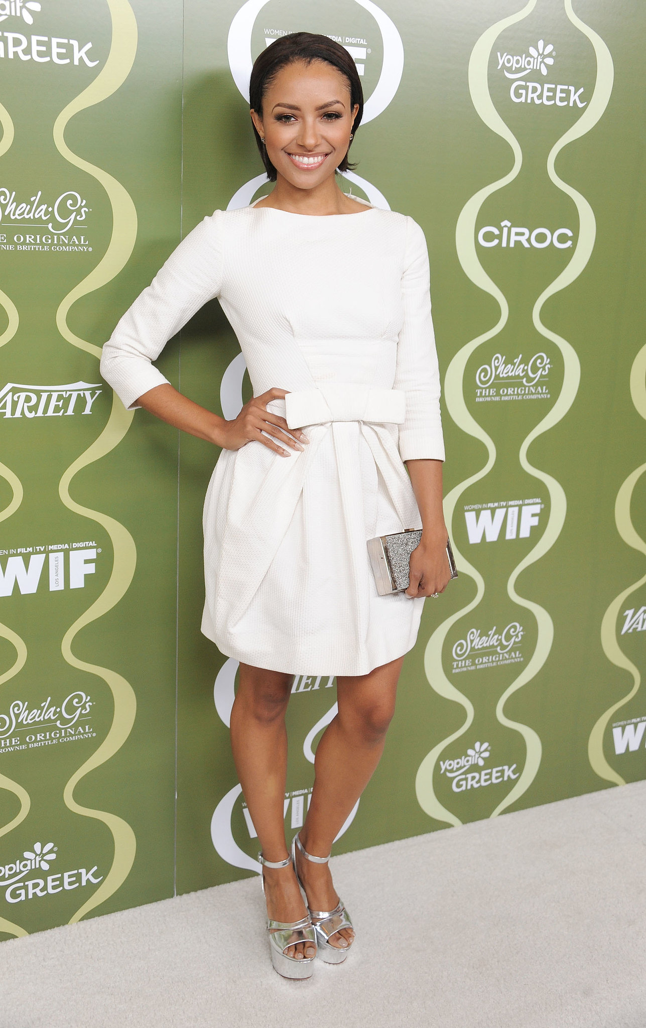 Kat Graham was crisp in all white — accented with silver metallic accessories — at the Variety and Women