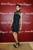 Freida Pinto was decked out in all black at the Salvatore Ferragamo Milan boutique opening during Milan Fashion Week. She donned a black dress with a sheer neckline and sexy black ankle-strap pumps.