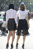 Double the trouble! Easy black and white outfits look great even from behind.