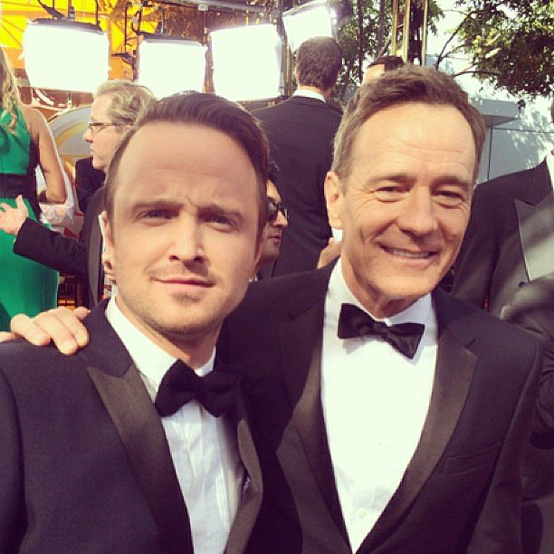 Aaron Paul and Bryan Cranston walked the red carpet together in style. Source: Instagram user primetimeemmys