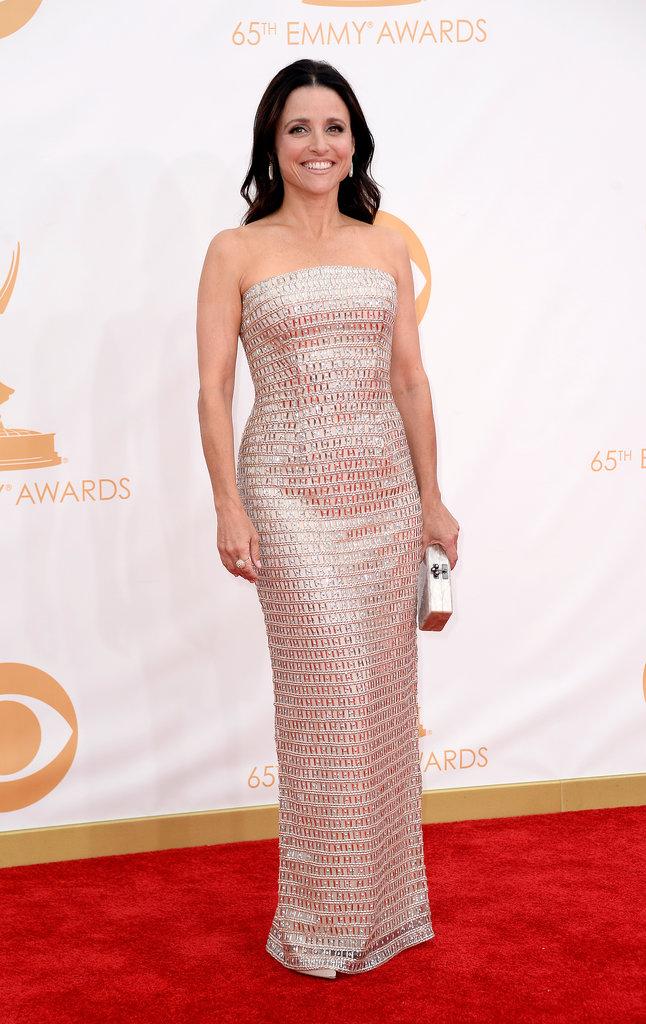 Julia Louis-Dreyfus picked a shimmery Monique Lhuillier column gown and an Edie Parker clutch.
