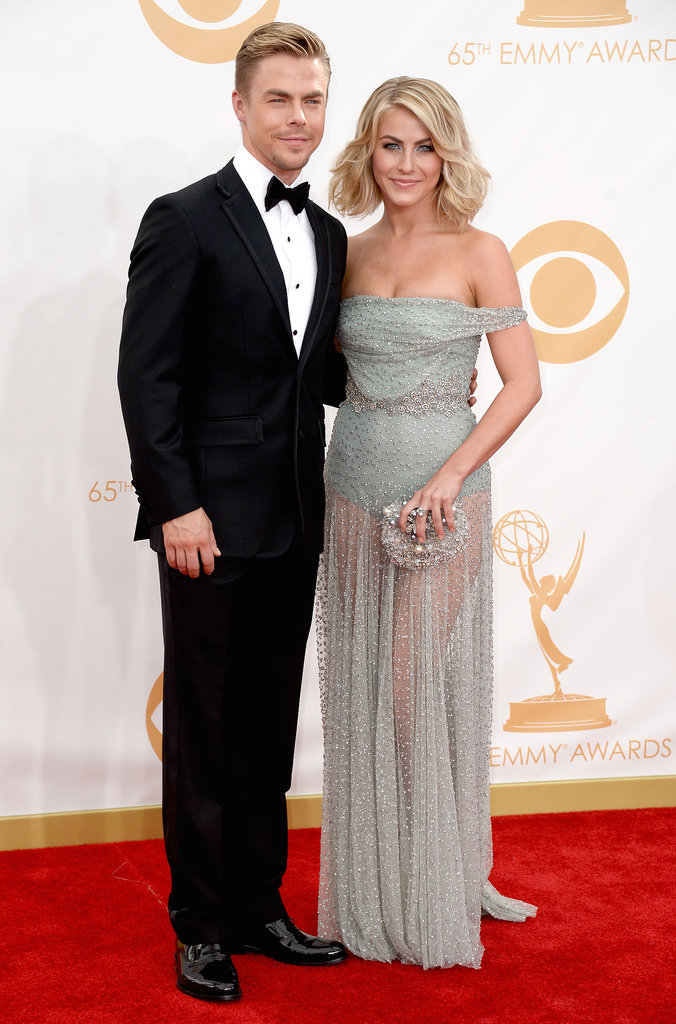 Julianne Hough and Derek Hough walked the red carpet at the Emmy Awards 2013.