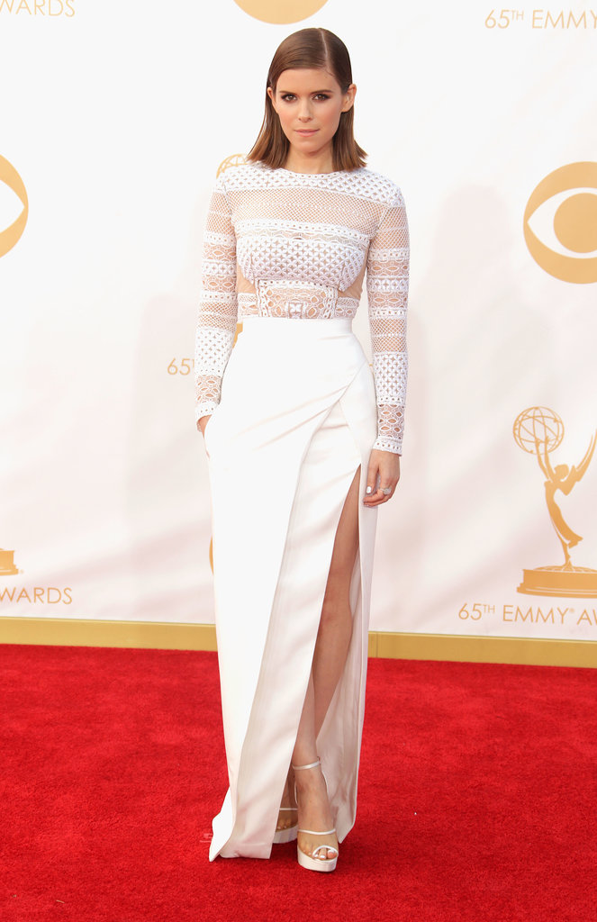 Kate Mara picked crisp white with a high slit that flashed some gams.