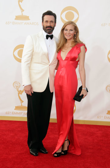 Jon Hamm and Jennifer Westfeldt attend the 2013 Emmy Awards