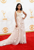 Kerry Washington was a girlie girl's dream in a pale pink Marchesa dress peppered with flowers. Her jewels were by Fred Leighton.
