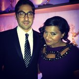 "Mindy Kaling and her ""great date,"" writer Jeremy Bronson, hung out backstage. Source: Instagram user mindykaling"