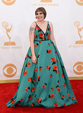 Lena Dunham picked a Prada ball gown with scattered red blooms.