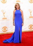 Electric blue wowed on Edie Falco's custom Escada dress.