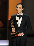 Jim Parsons became emotional when he accepted the award for best lead actor in a comedy series.