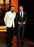 Onscreen studs Jon Hamm and Alec Baldwin hit the Emmys stage together to present.