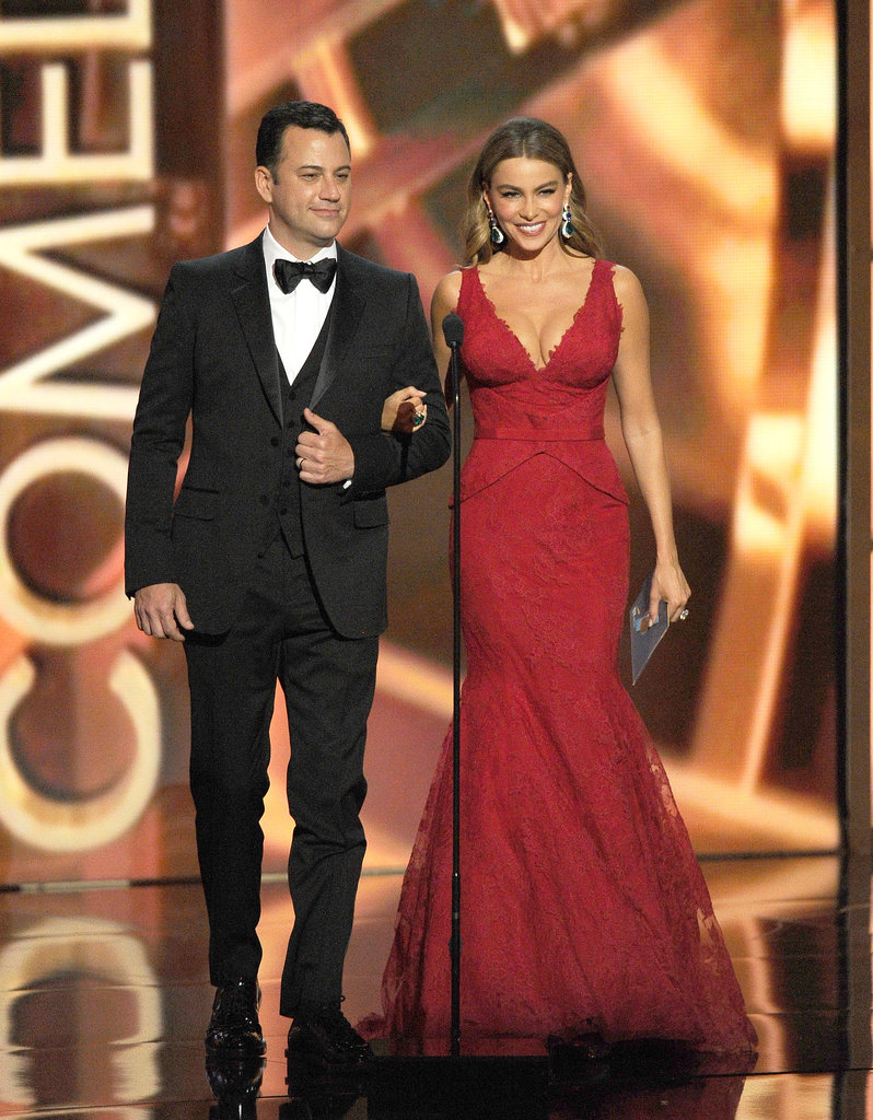 Sofia Vergara presented with Jimmy Kimmel at the 2013 Emmy Awards.