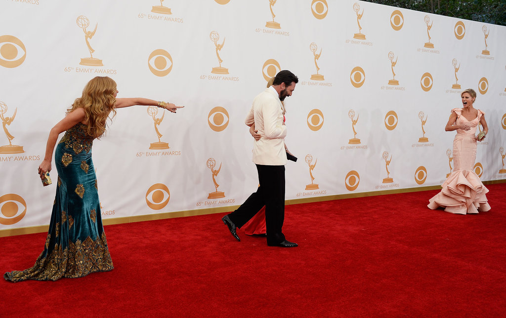 Connie Britton, Jon Hamm, and Julie Bowen joked around on the Emmys red carpet.