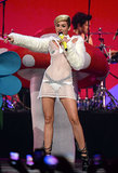 Miley Cyrus changed into a barely-there costume.