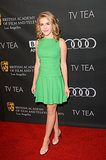 Kiernan Shipka's bright green minidress lit up the BAFTA LA TV Tea Party red carpet.