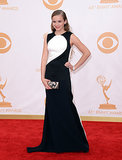 Actress Morgan Saylor wore a black and white gown to the Emmys.