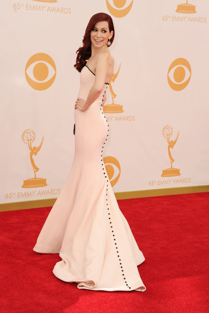 It was all about the rear view for Carrie Preston's Romona Caveza dress. The pale pink colour and train were accented by a long row of buttons.