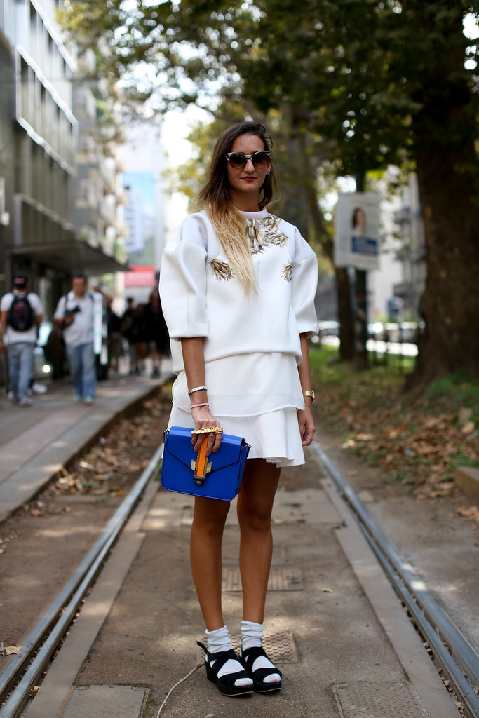 An all-white look with a dramatic twist.