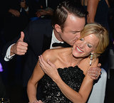 Aaron Paul gave Anna Gunn a kiss at the 2013 Emmys Governors Ball.