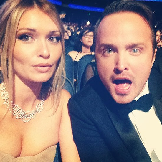 Aaron Paul and his wife, Lauren Paul, joked around during the show. Source: Instagram user laurenpaul8