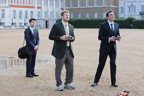 Ben (Adam Scott) and Andy (Chris Pratt) take part in some local pastimes with Lord Edgar Covington (Peter Serafinowicz).