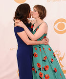 Lena Dunham shared a kiss with her mum, Laurie Simmons.
