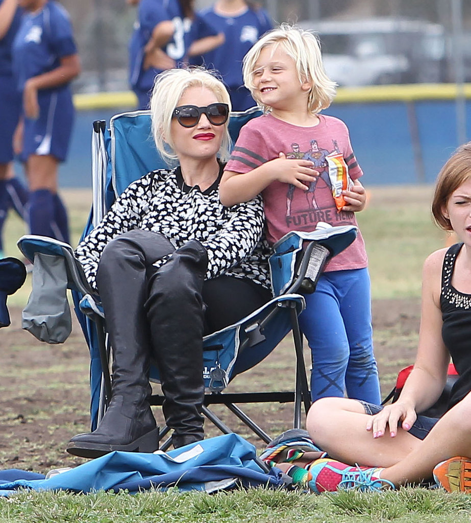 Gwen Stefani sat on the sidelines with her 5-year-old son, Zuma Rossdale.
