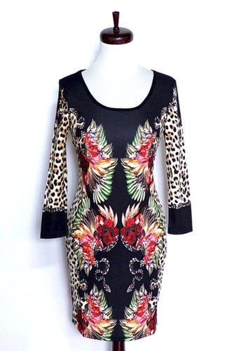 Floral & Leopard-Print Dress