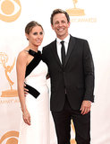 Seth Meyers wore a cute smile alongside his new wife, Alexi Ashe.