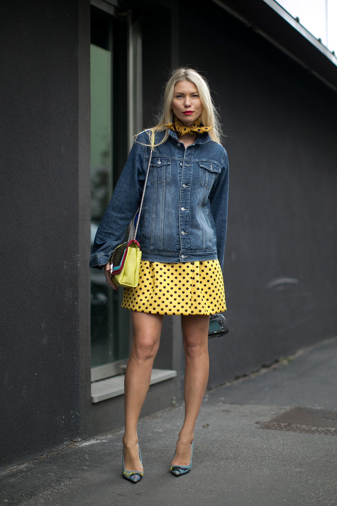 The ingredients to this awesome ensemble: a little denim, a shot of yellow, and a few polka dots.