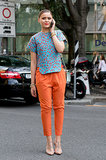 A little print and a pop of orange went a long way in this look.