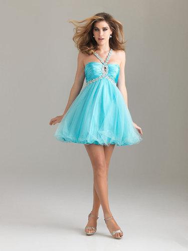 A-line Straps Tulle Short/Mini Sleeveless Crystal Detailing Prom Dresses at dressestylish